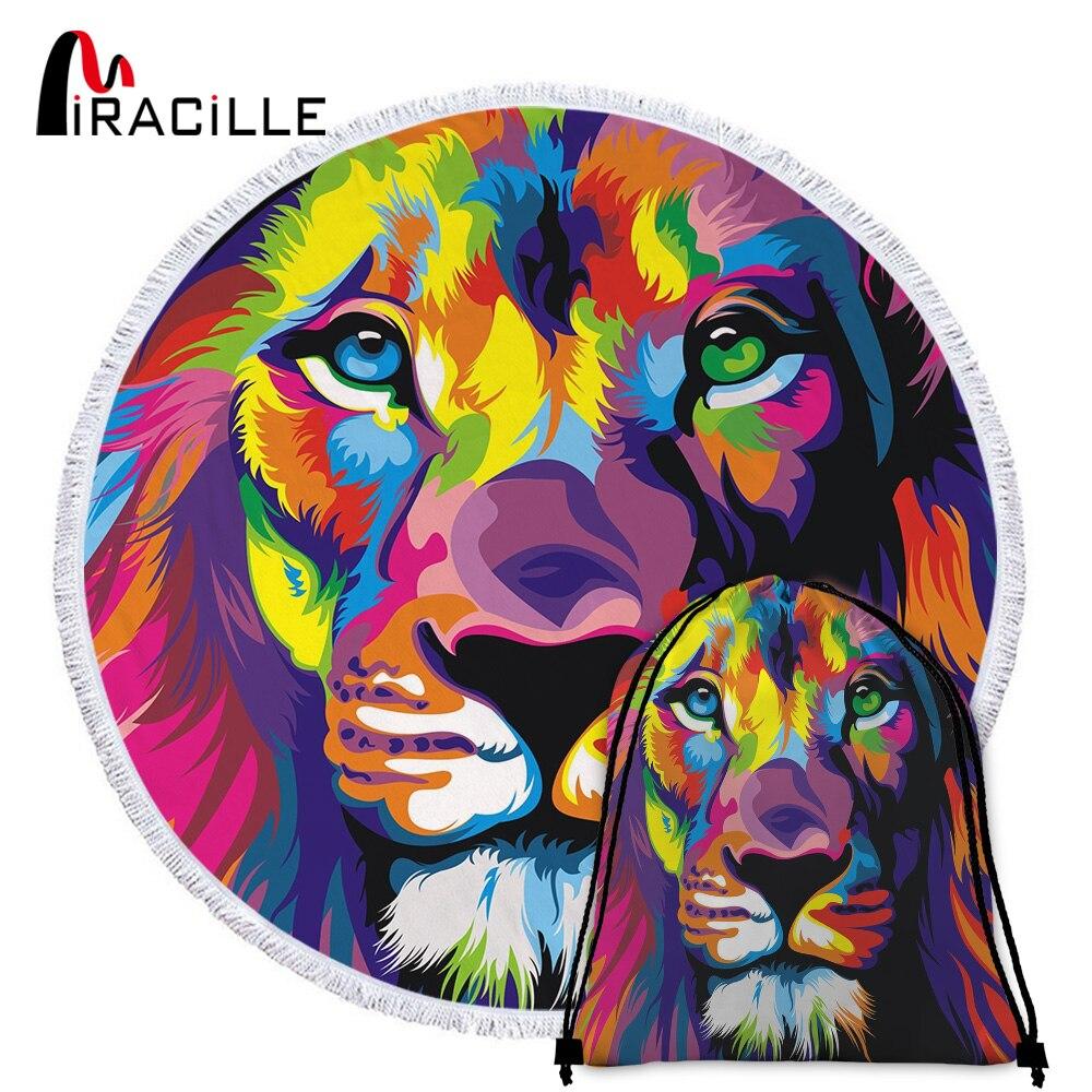 Miraculille-serviette-de-plage-ronde-peinture-l-huile-Lion-couverture-absorbant-l-eau-en-microfibre-tapis
