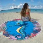 Miracille-serviette-de-plage-ronde-avec-pompon-Tortue-Marine-tissu-imprim-en-microfibre-tapis-de-Yoga