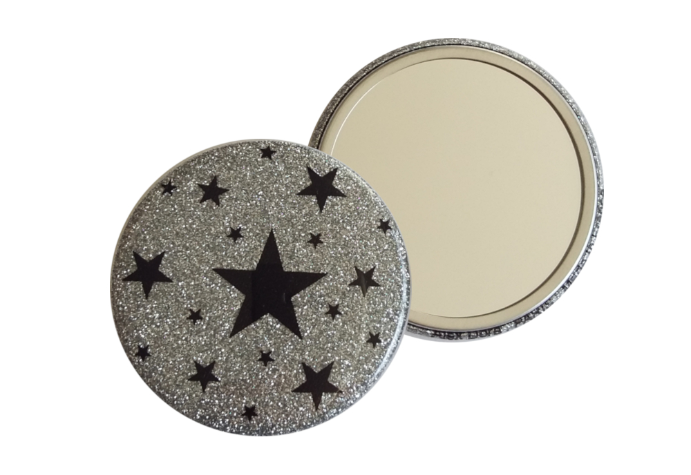 Miroir de poche galaxie argent
