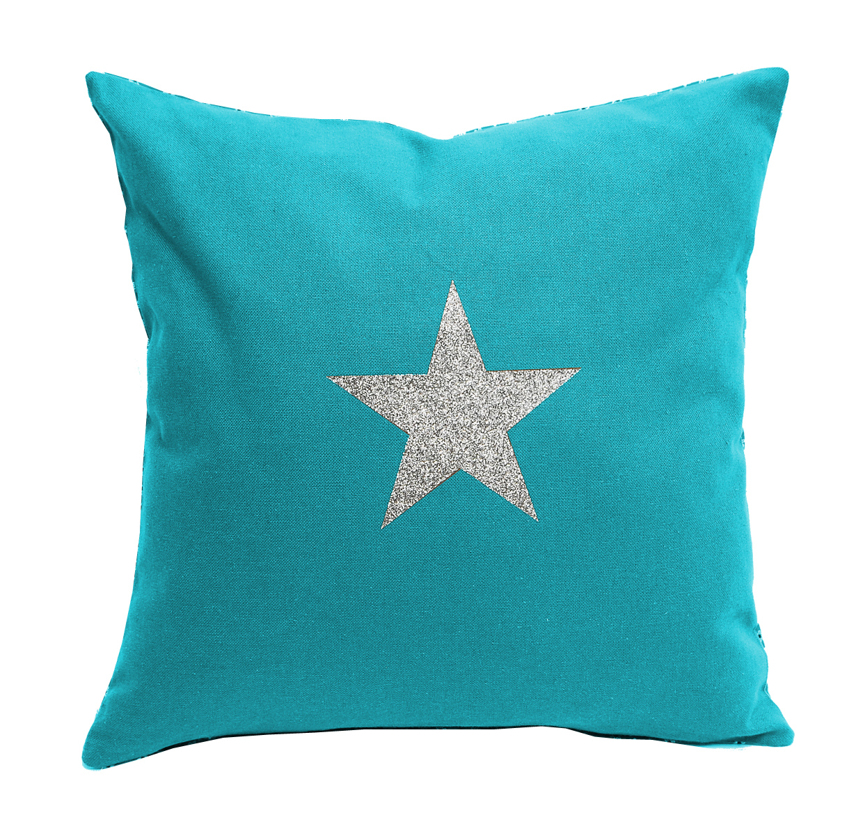 Coussin 40x40 coton turquoise étoile pailleté argent Alex Doré