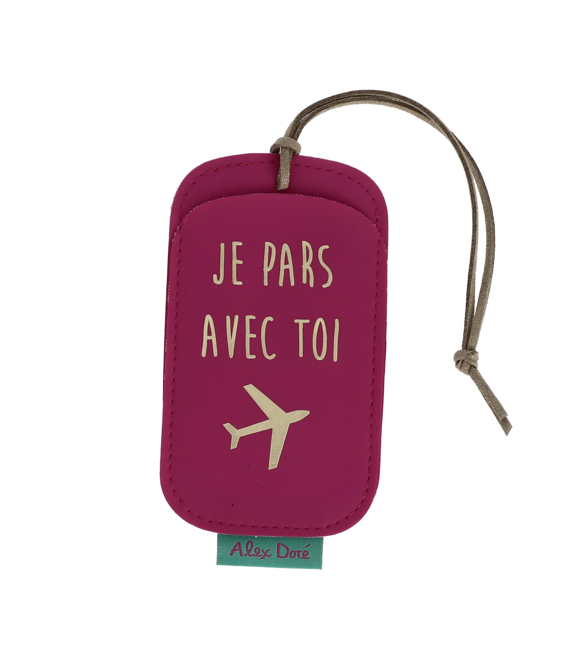 Etui étiquette bagage motif et texte PERSONNALISABLE