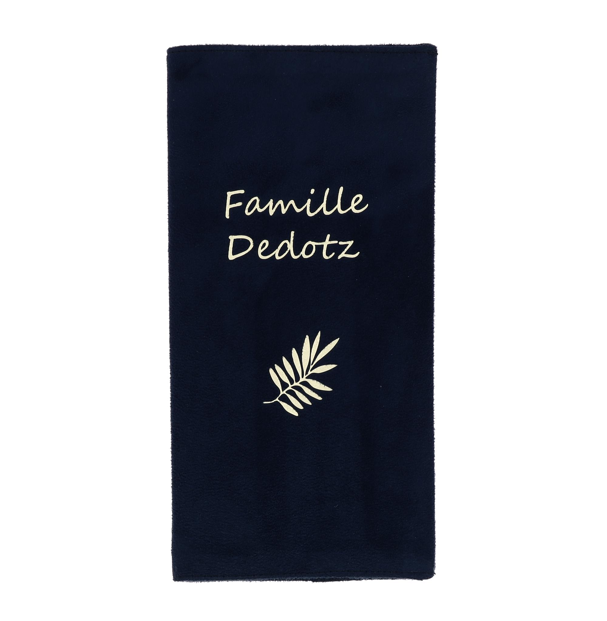 Protège livret de famille texte et motif PERSONNALISABLES