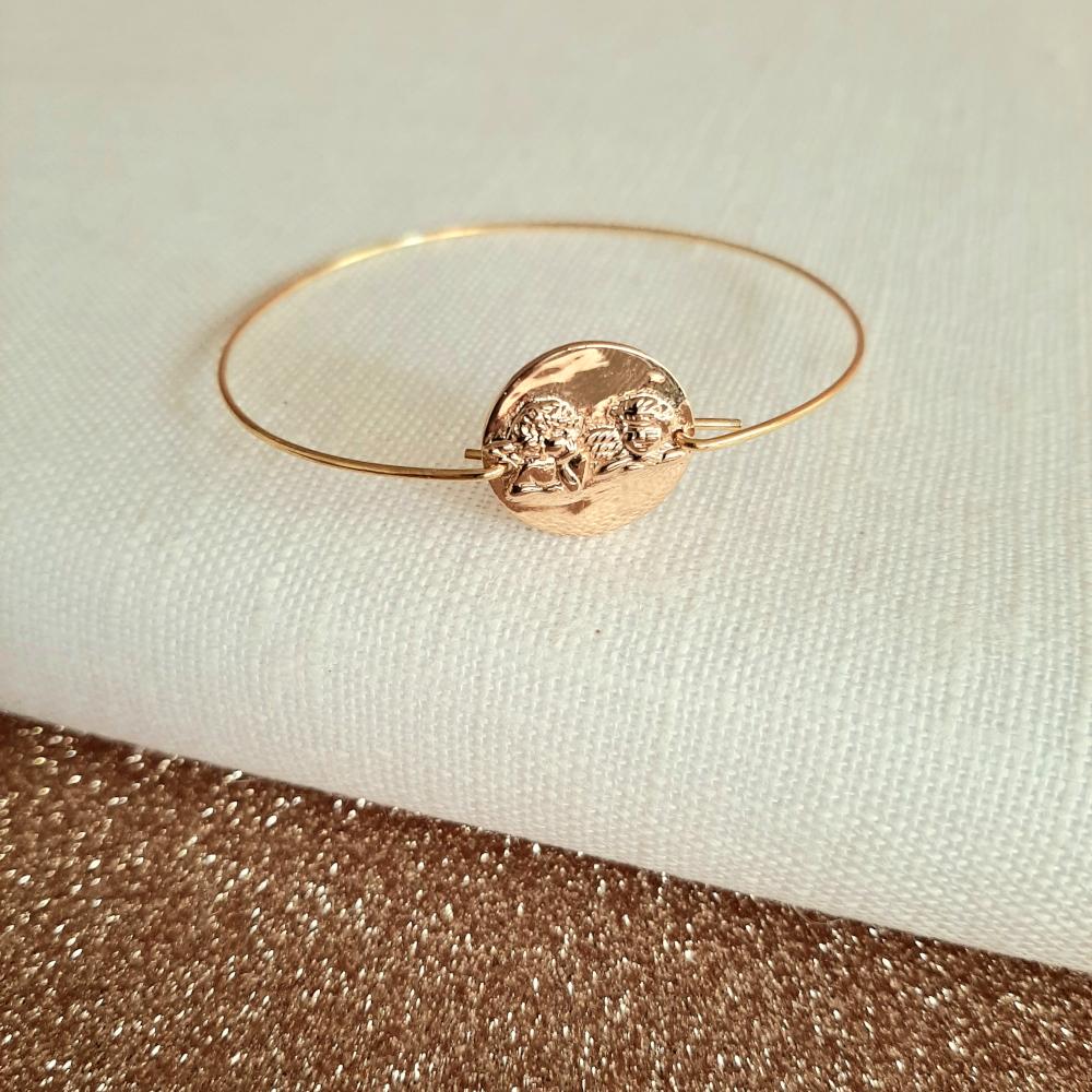 Bracelet jonc anges plaqué or Alex Doré