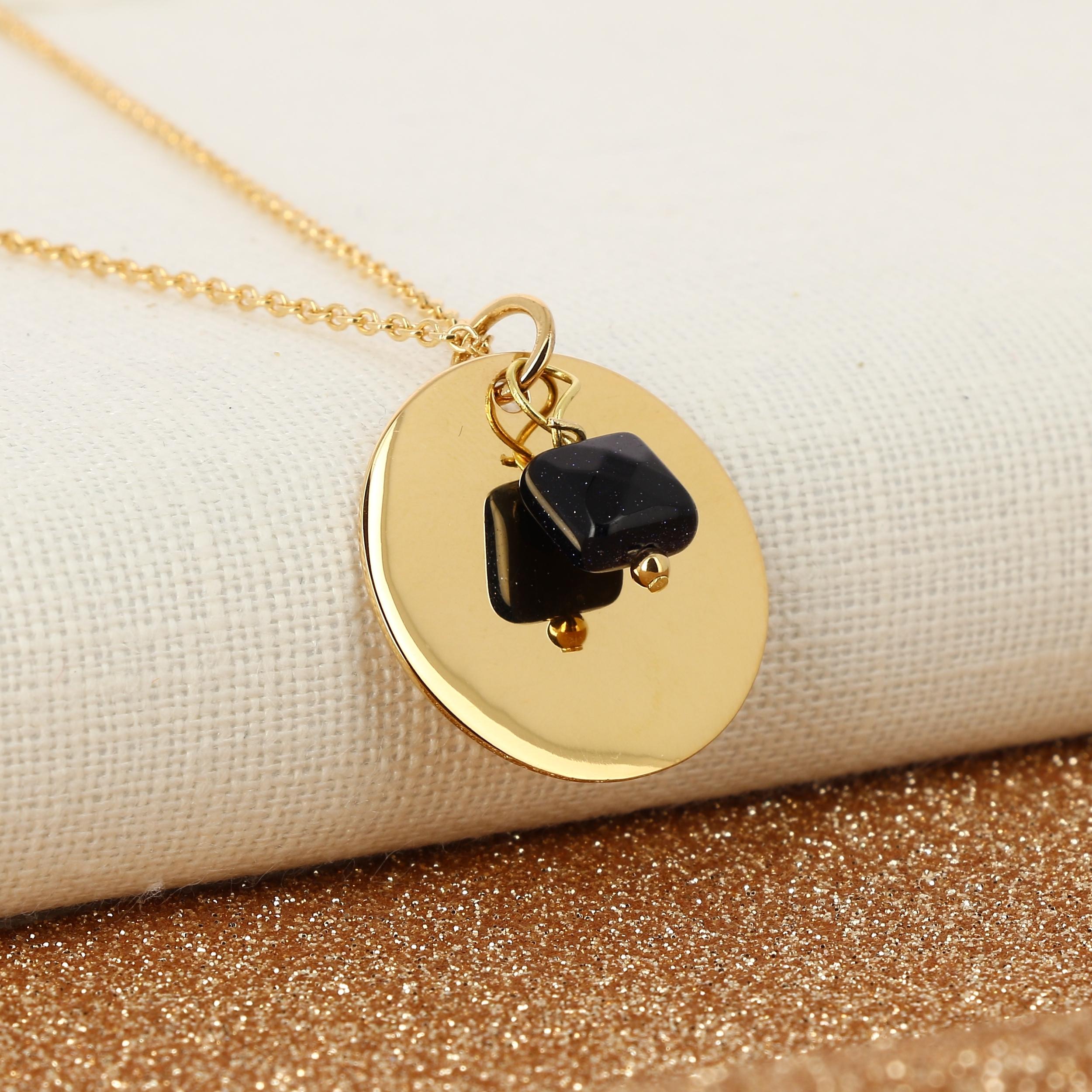 collier-medaille-25mm plaque-or-pierre de sable-alex-dore-graver-personnalise-cadeau-naissance-mariage-anniversaire-fete-mere-paillettes-glitter