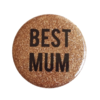 Badge ou aimant BEST MUM glitter or Alex Doré