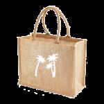 Sac shopping jute irisée dorée Palmiers Blanc centré Alex Doré