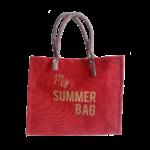 Sac shopping jute rouge My Summer Bag Or lisse anses soleil Alex Doré 800px