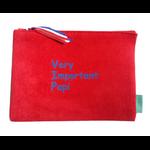 Pochette Indispensable fermée suedine rouge Very Important Papy bleu mat Alex Doré