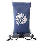 Etui lunettes simili écocuir marine indien pailleté argent lunette vue Alex Doré