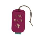 Etiquette bagage PVC fuchsia je pars avec toi or lisse20