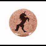 Badge 38 mm licorne glitter or