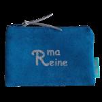 Porte-monnaie Alex Doré suédine Bleu ma reine glitter argent