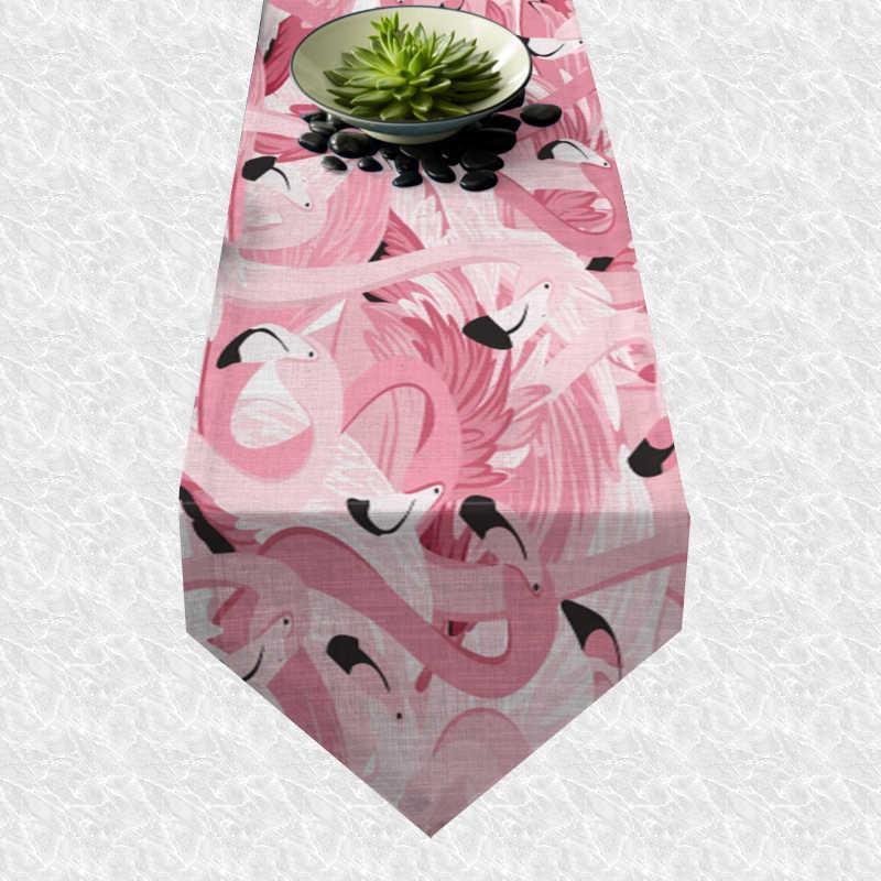Chemin de table flamant rose paradis