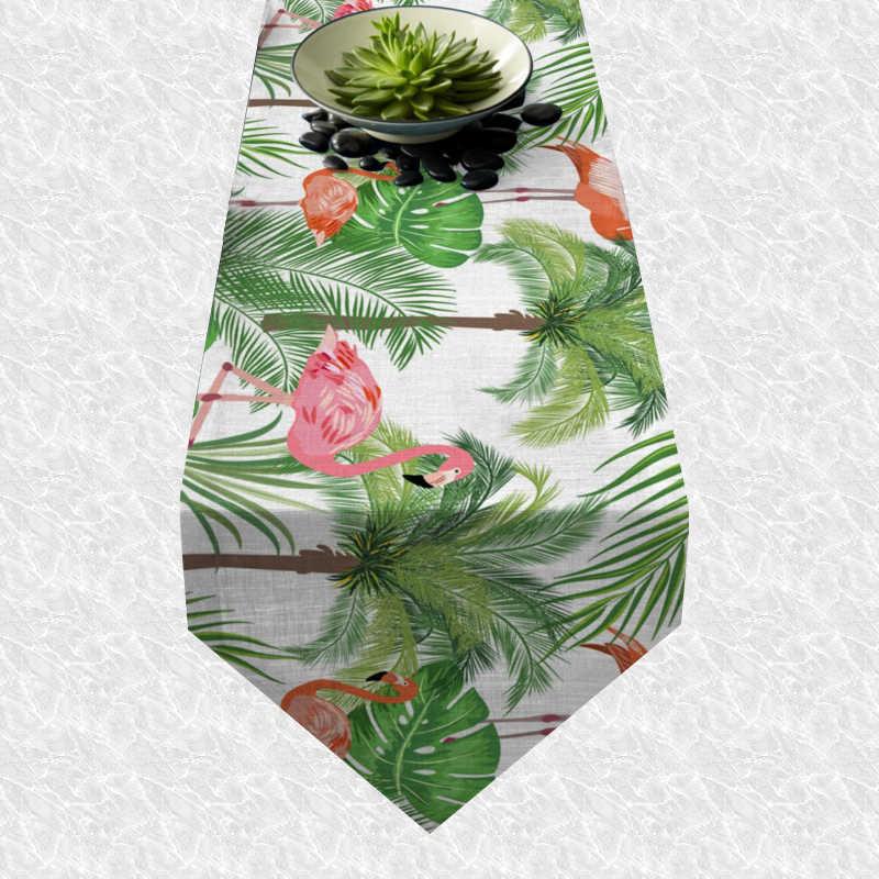 Chemin de table flamant rose tropical