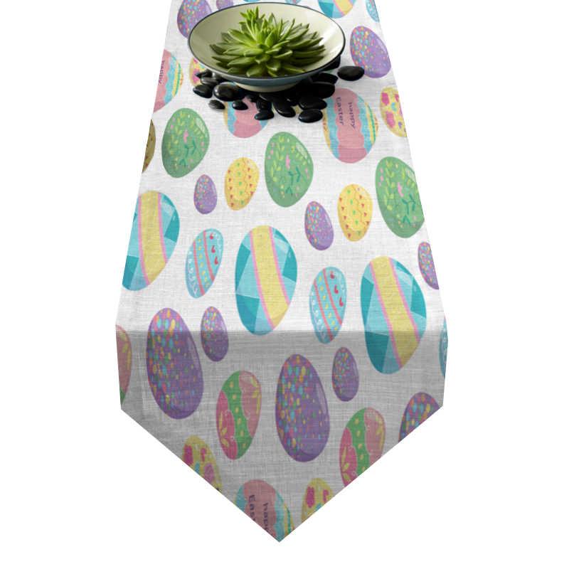 Chemin de table Pâques œufs multicolores