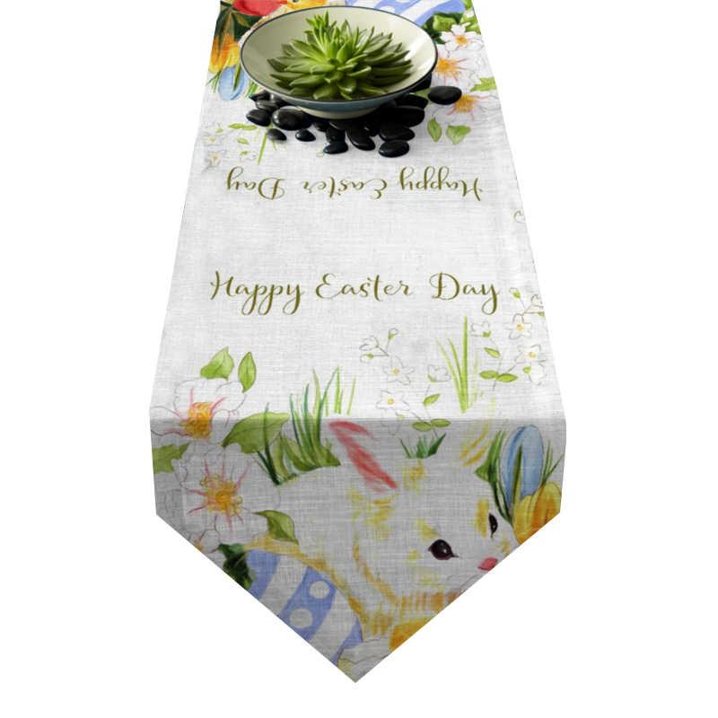 Chemin de table Pâques lapin blanc