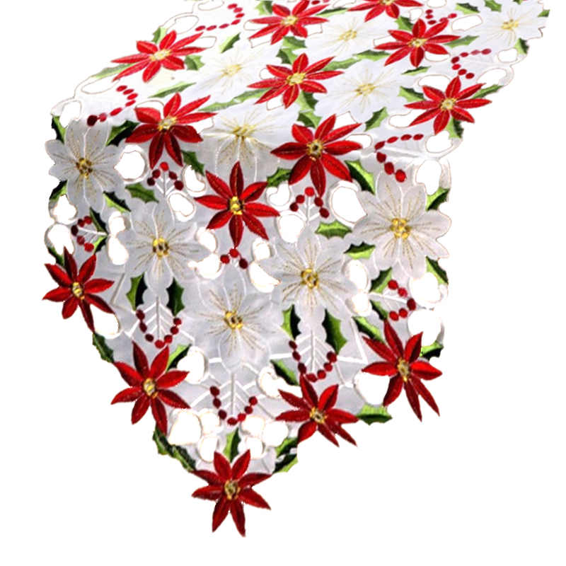 Chemin de table Noël fleur