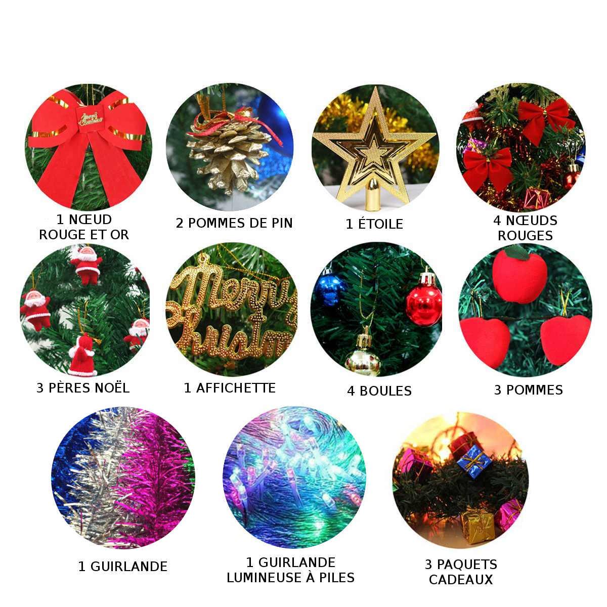 24 éléments décoratifs fournis avec ce sapin de Noël de table lumineux