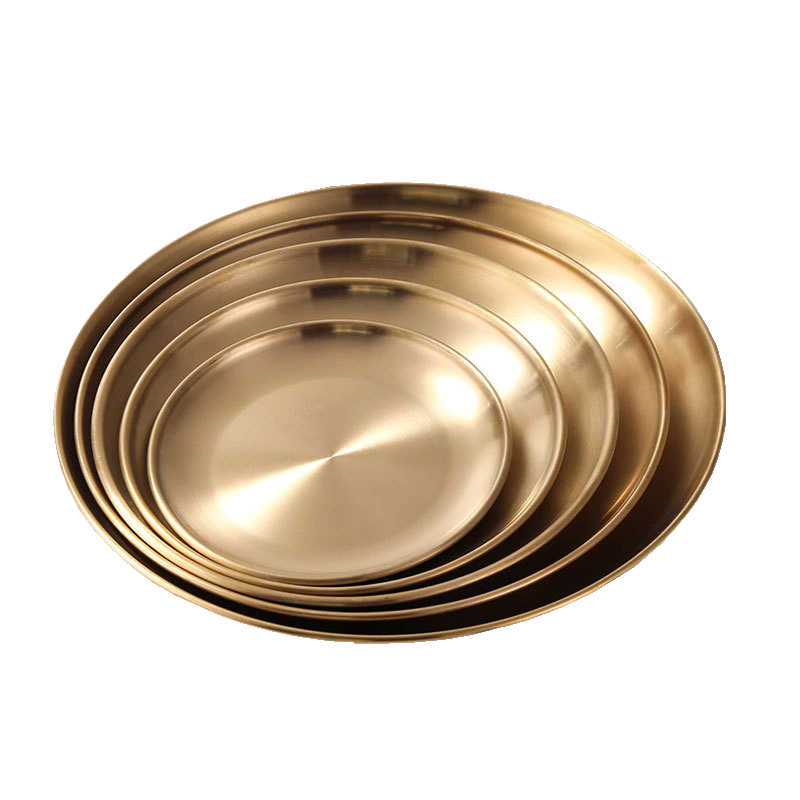 Assiette de présentation dorée