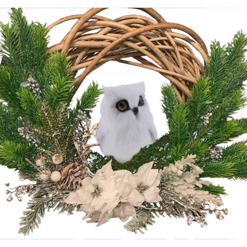 Centre de table de Noël avec un hibou