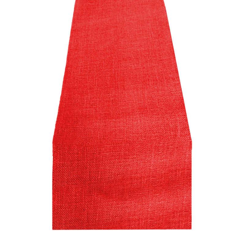 Chemin de table toile de jute rouge
