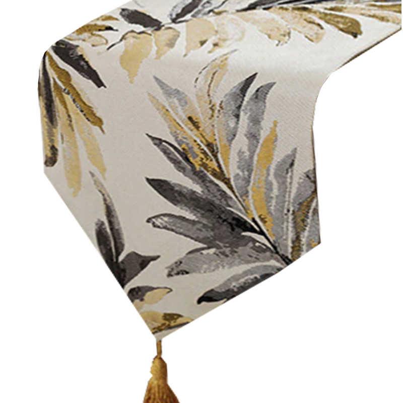 Chemin de table feuille de palmier doré