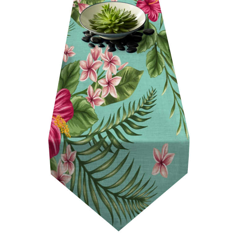 Chemin de table fleur d\'hibiscus