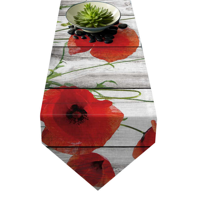 Chemin de table coquelicot