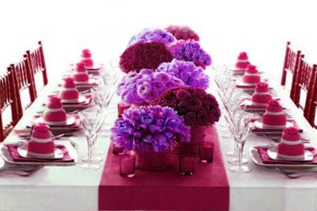 deco de table satin rose