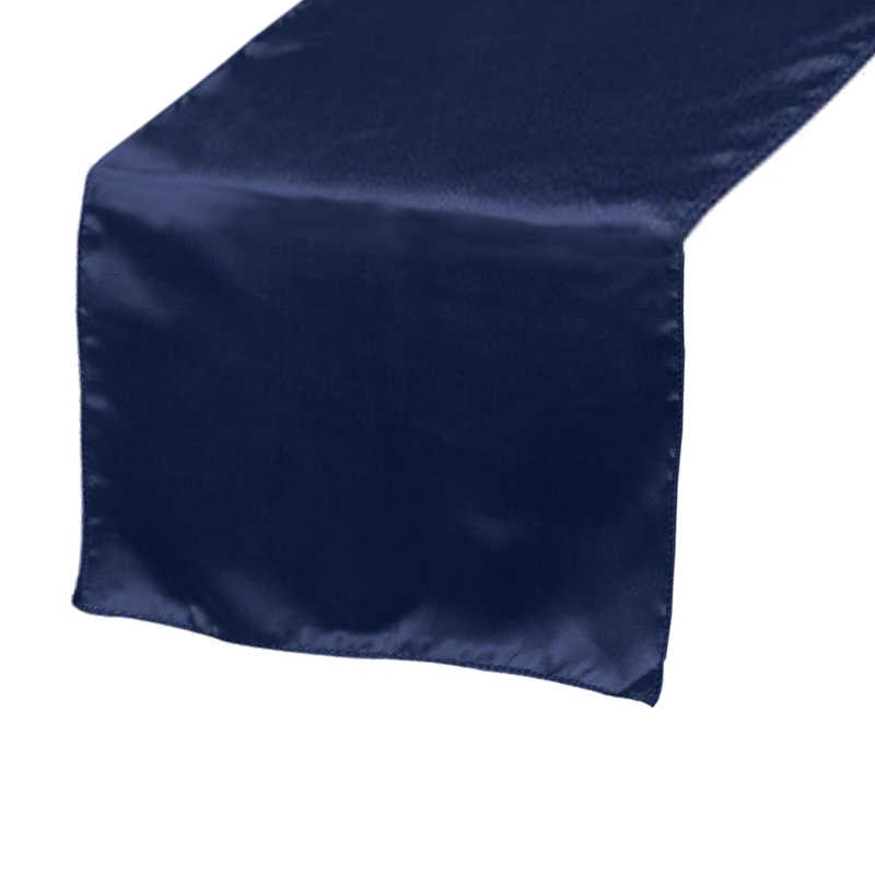 Chemin de table satin bleu marine