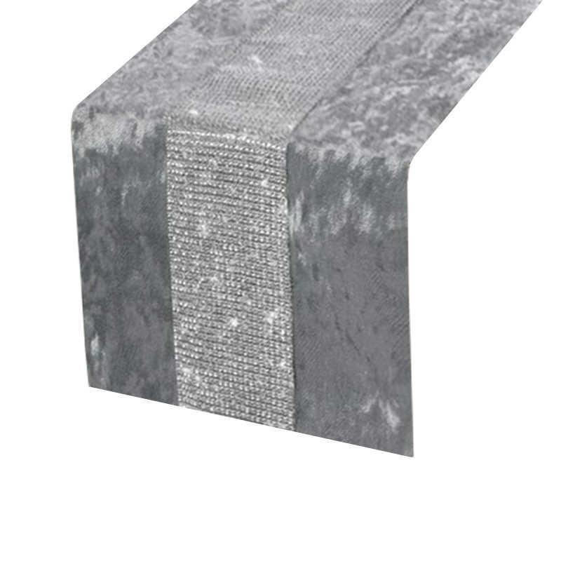 Chemin de table argenté strass
