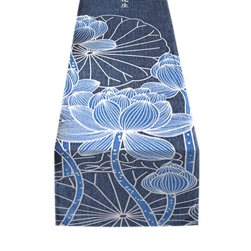 chemin-de-table-japonais-lotus-bleu