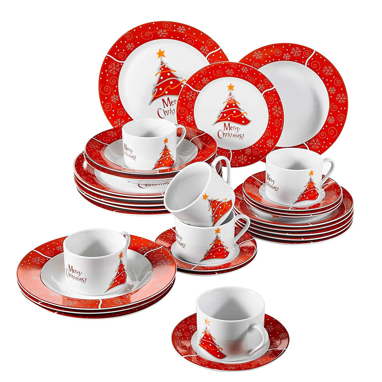 Service de table Noël porcelaine Assiettes et tasses