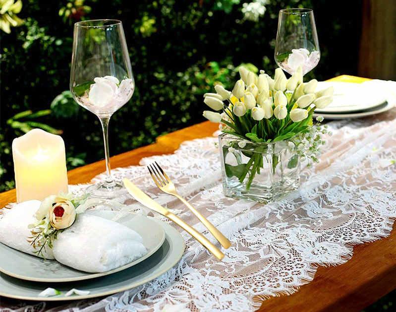deco de table mariage nature et dentelle