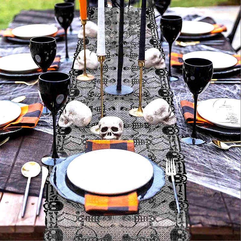 décoration de table halloween hantée