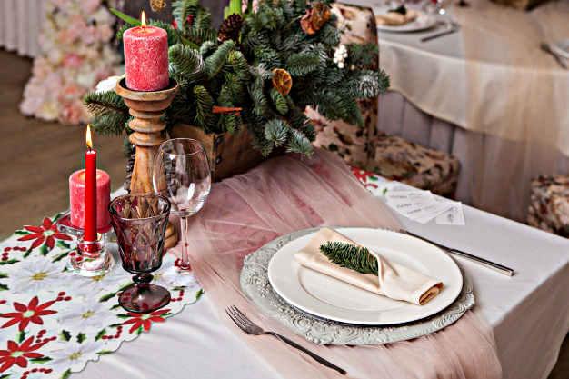décoration de table de noel fleurs