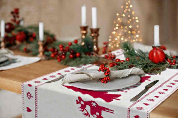 centre de table noel rouge et blanc