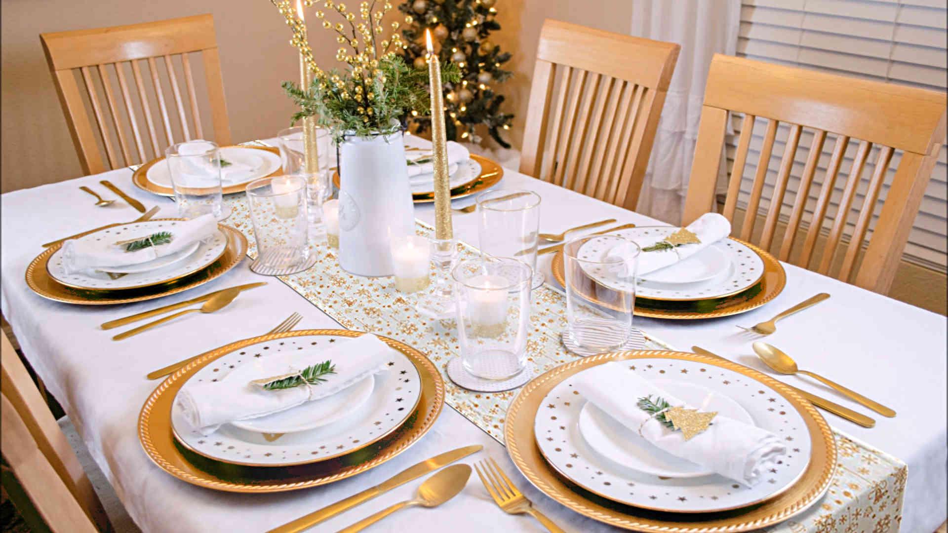 deco de table blanc et or pour noel