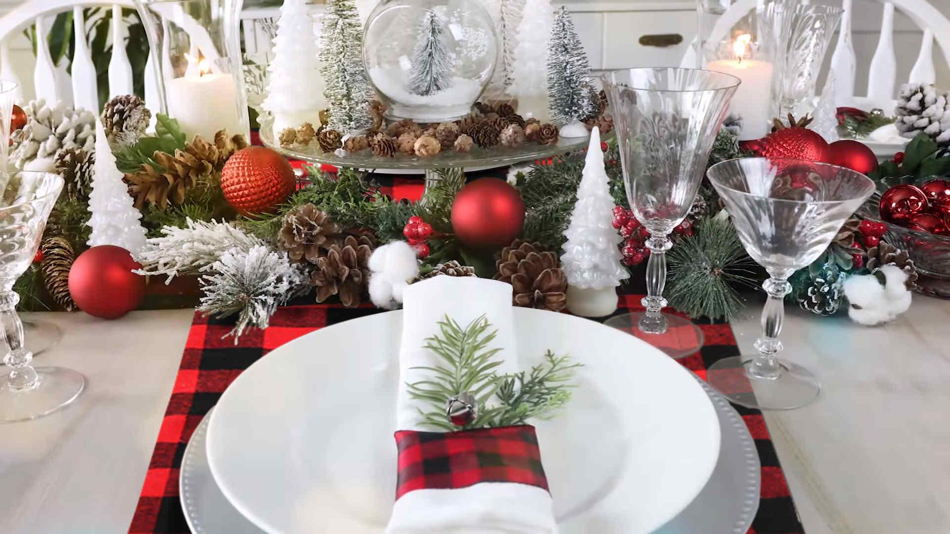 decoration table bûcheron