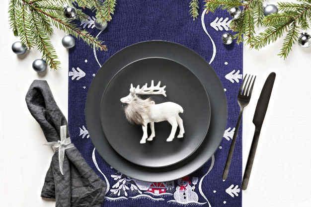 decoration table bleu moderne
