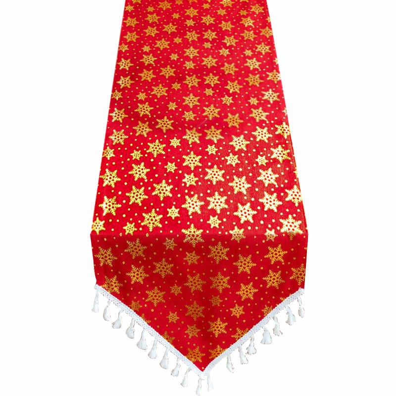 Chemin de table Noël rouge et or