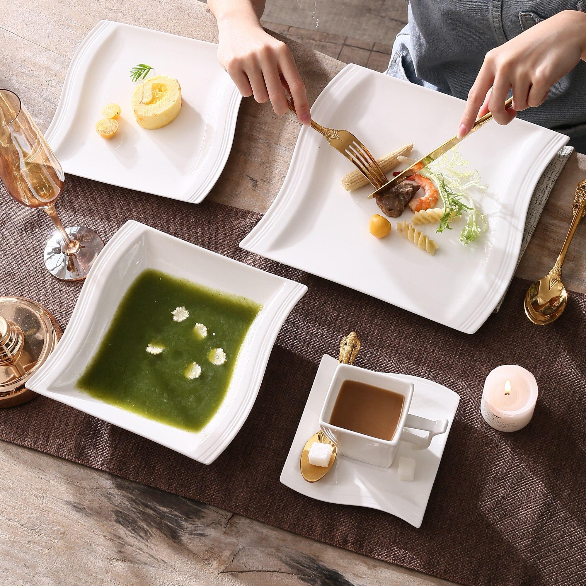 service de table moderne en porcelaine