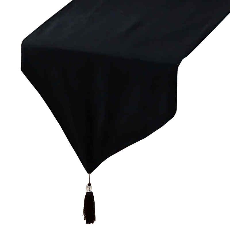 Chemin de table en coton noir