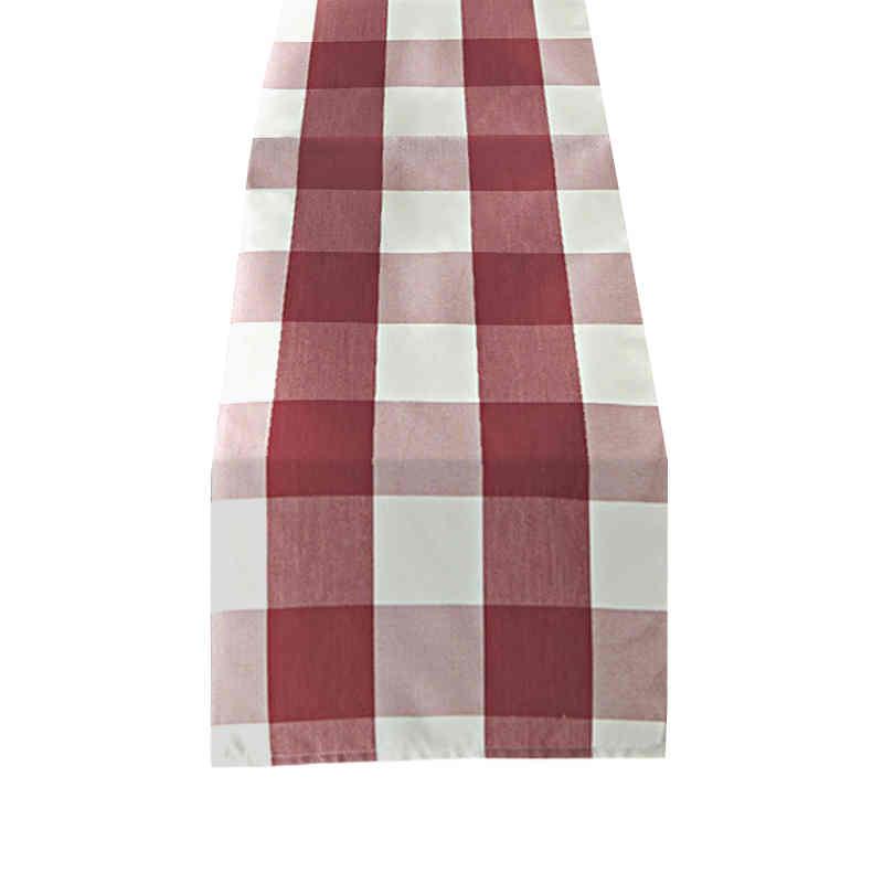 Chemin de table carreaux rouge et blanc