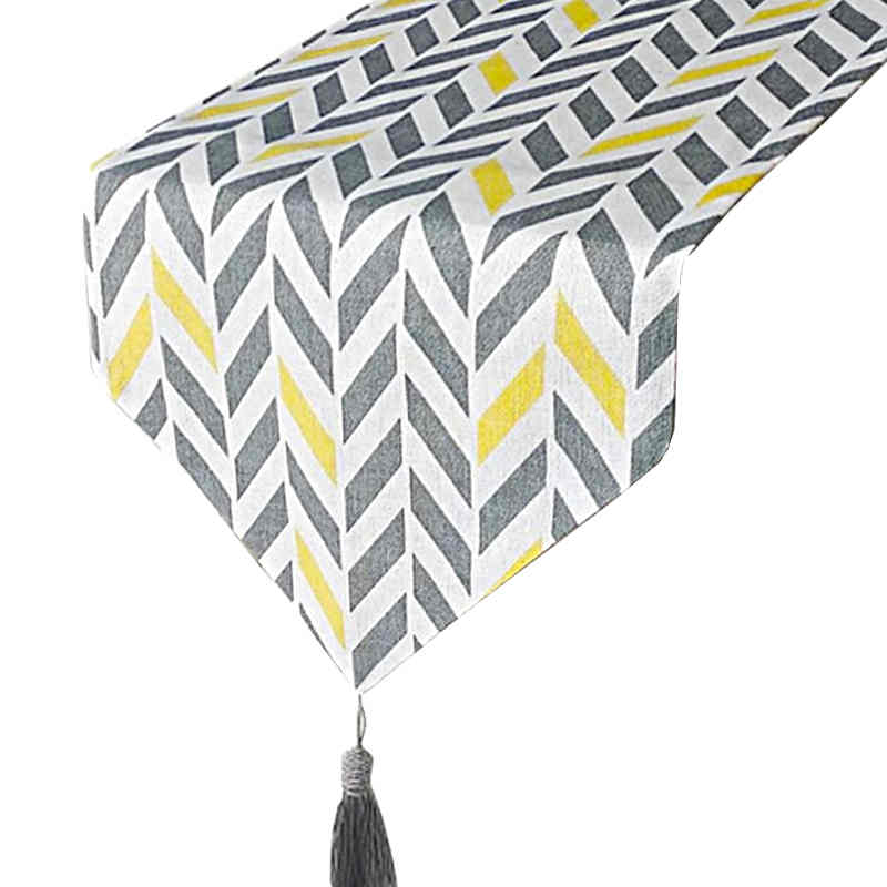 chemin-de-table-chevron-jaune-et-gris