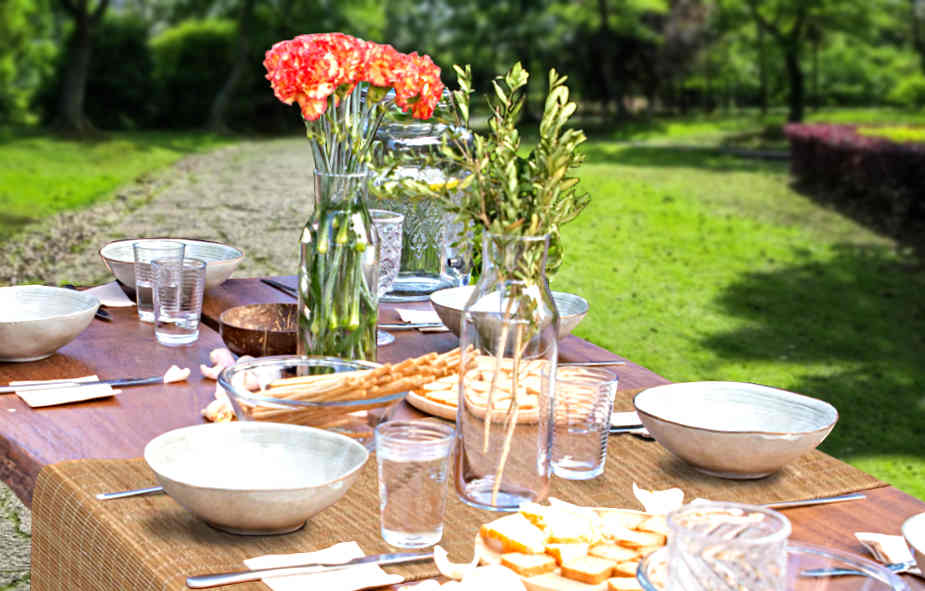 décoration de table naturelle bambou