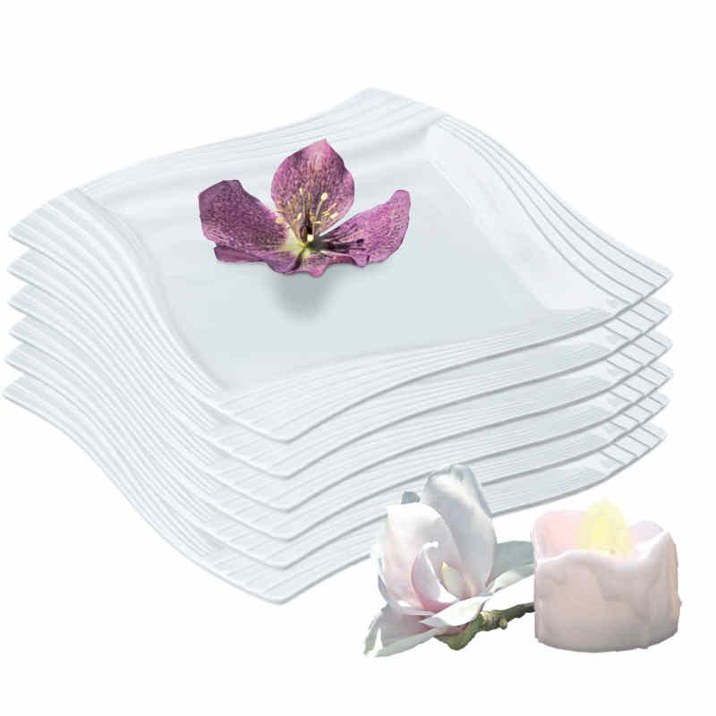 Assiette plate en porcelaine blanche (x6)