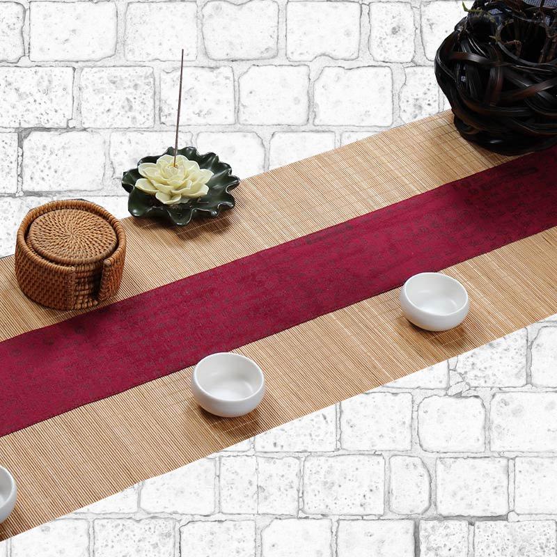 Chemin de table bambou naturel motifs japonais