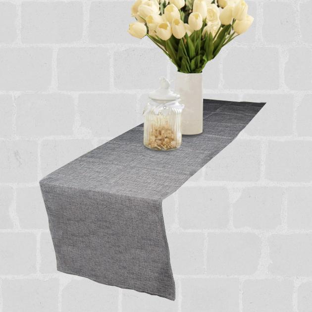Chemin de table lin gris