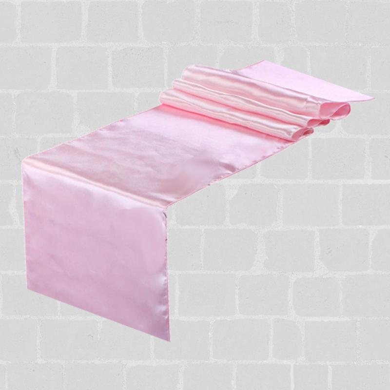 Chemin de table satin rose pale